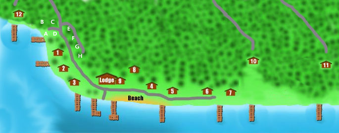 Resort layout of cabins