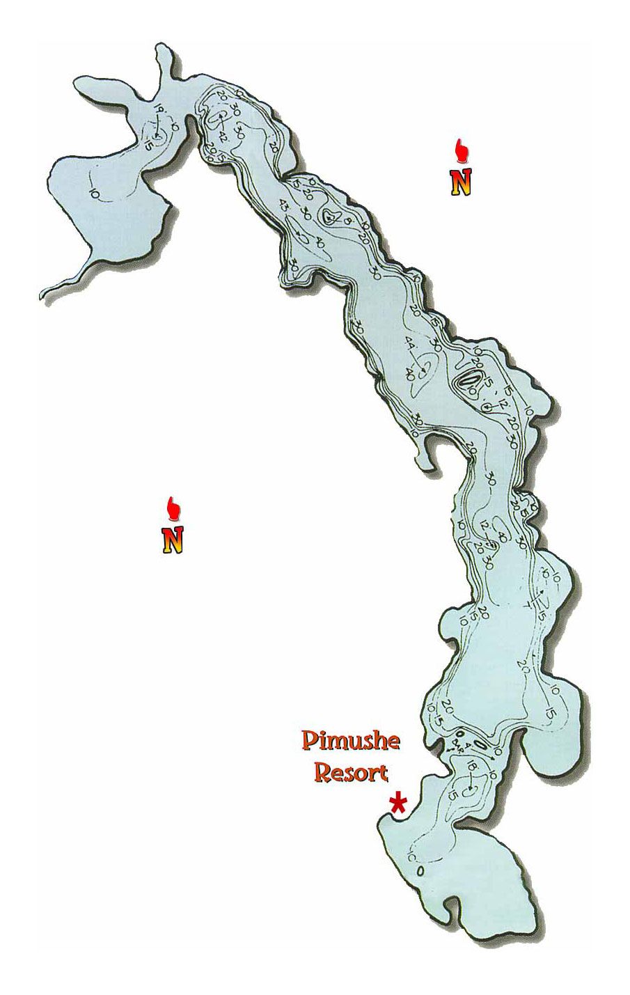Pimushe Lake map